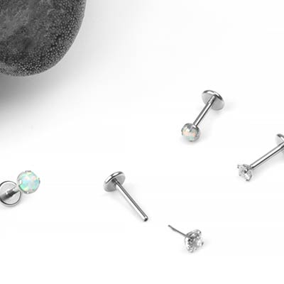 Steel Prong Set Gem and Opal Threadless Labret