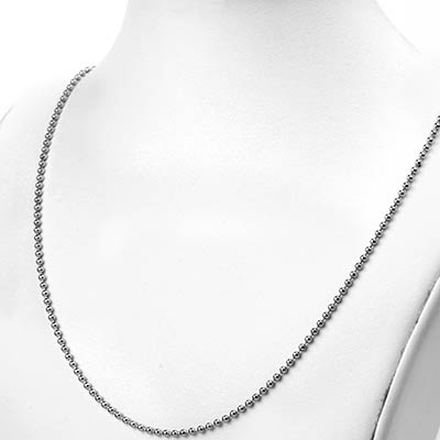 Rhodium Plated Ball Chain Necklace