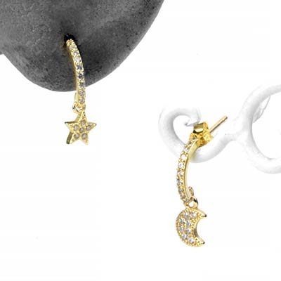Golden Star and Moon Faux Hoop Stud Earring