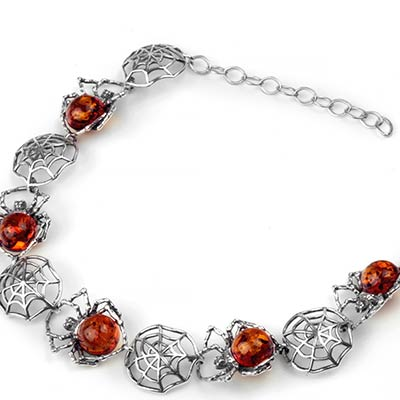 Silver and Cognac Amber Spider Bracelet