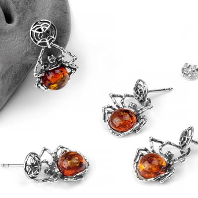 Silver and Amber Itsy Bitsy Spider Dangle Earrings