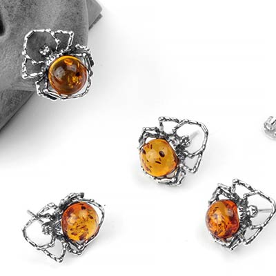 Silver and Amber Itsy Bitsy Spider Stud Earrings