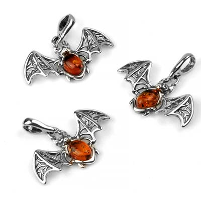 Silver and Amber Bat Pendant