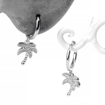 Silver Palm Tree Huggie Earring