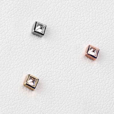 Solid 14k Gold Princess Cut Reverse Set Gem Threadless End
