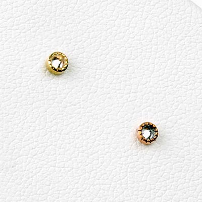 Solid 14k Gold Millgrain Reverse Set Gem Threadless End