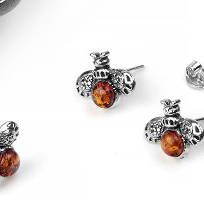 Silver and Amber Bee Stud Earrings