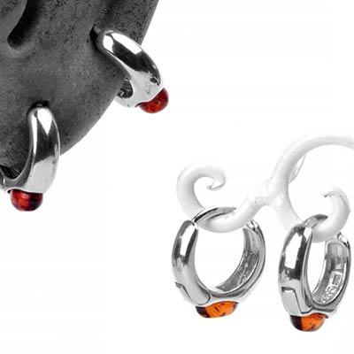 Sterling Silver and Amber Huggie Earrings
