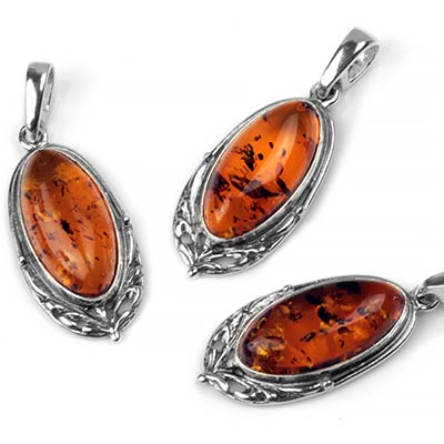 Silver and Oval Cognac Amber Pendant