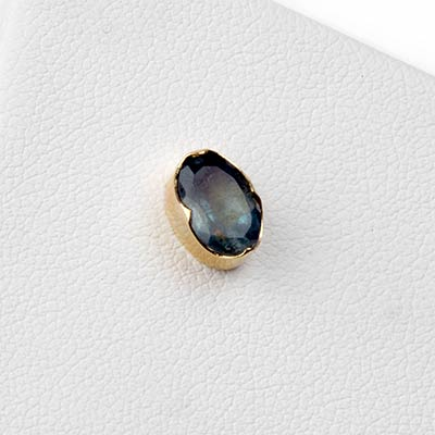 14k Gold Oval Threadless End with Aquamarine