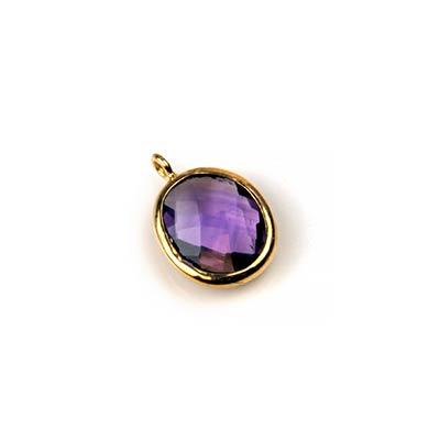 18K Gold and Amethyst Oval Dangle Charm