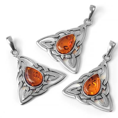 Silver and Amber Celtic Triquetra Pendant