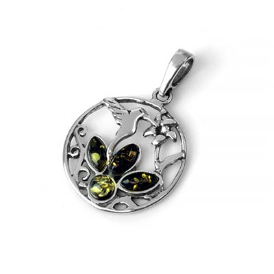 Silver and Green Amber Hummingbird Pendant