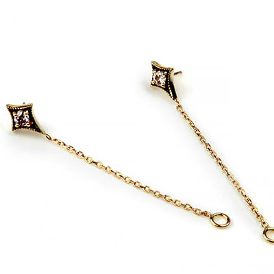 18K Gold Threadless North Star End with Chain