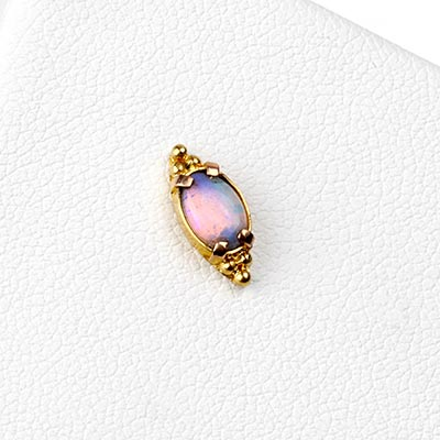 18k Gold Beaded Threadless End with Genuine Opal