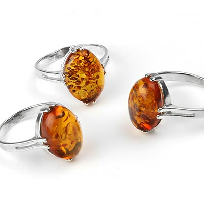 Silver and Oval Amber Ring