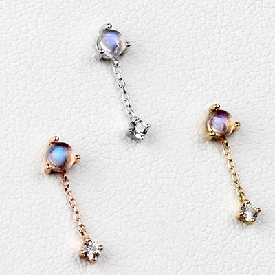Solid 14k Gold Bianca Threadless End with Moonstone and White Sapphire