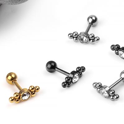 Steel Beaded Barbell with CZ Gem