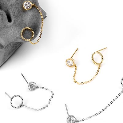 Gem and Chain Halo Stud Earring