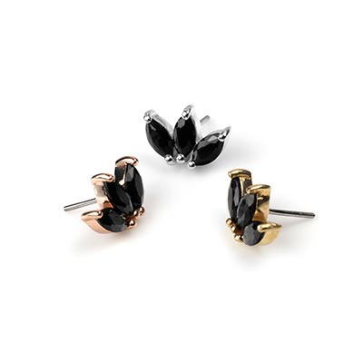 Solid 14k Gold Moet Threadless End with Black Spinel