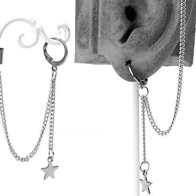 Dangle Star Huggie Earring with Cuff
