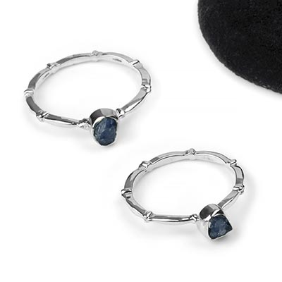Silver and Rough Blue Sapphire Design Band Ring