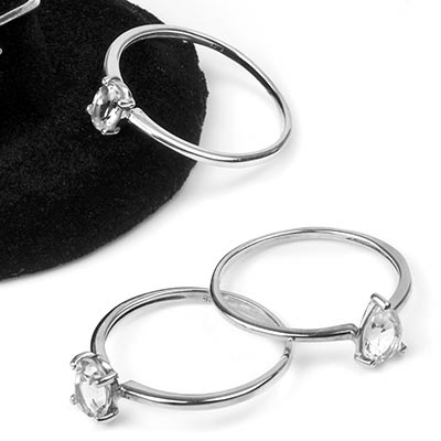 Silver and White Topaz Gemstone Ring