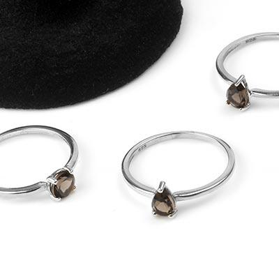 Silver and Smokey Quartz Gemstone Ring
