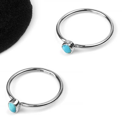 Silver and Turquoise Bezel Set Ring