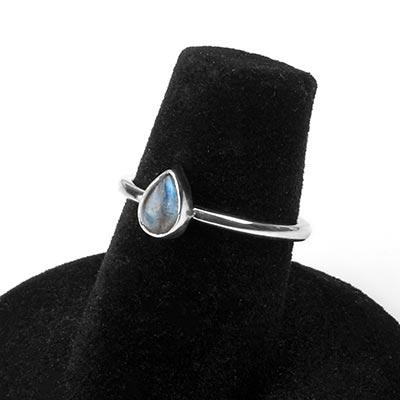 Silver and Labradorite Teardrop Ring