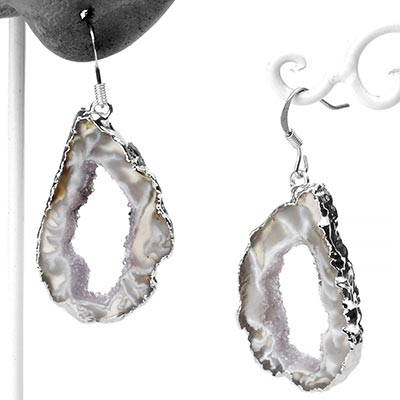 Silver Dipped Geode Slice Earrings