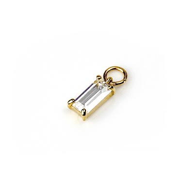 14K Gold CZ Gem Dangle Charm