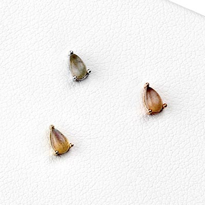 Solid 14k Gold and Labradorite Teardrop Threadless End
