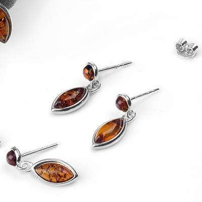Silver and Amber Marquise Drop Earrings