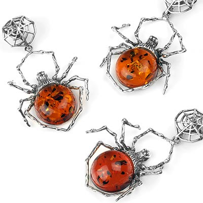 Silver and Amber Spider Pendant