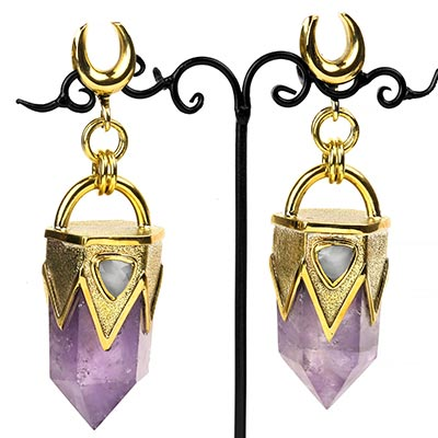Solid Brass and Amethyst Weights with Faceted Moonstone