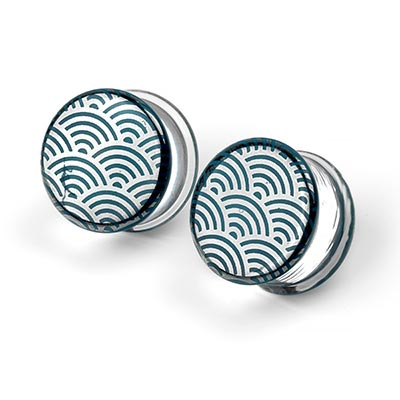 Glass Platinum Nami on Aqua Plugs
