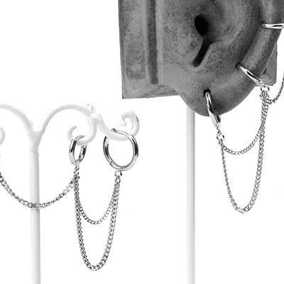 Silver Triple Chain Huggie Earring