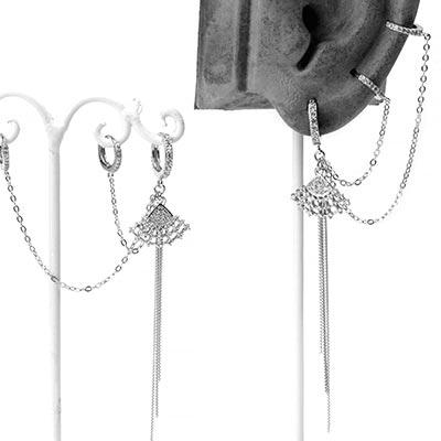 Silver Gemmed Fan Double Huggie Earring
