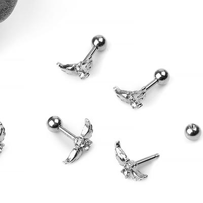 Steel Winged CZ Gem Barbell
