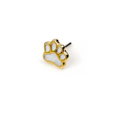 14K Gold Paw Threadless End