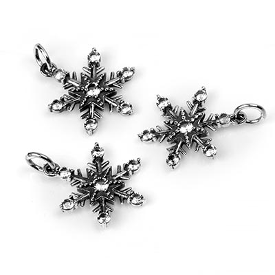 Silver Gemmed Snowflake Pendant