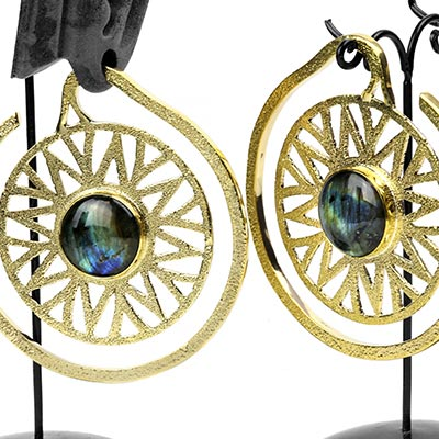 Solid Brass Essence Puj Ju Hoops with Labradorite