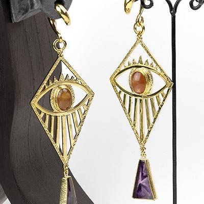 Solid Brass Illuminati Weights with Sunstone and Amethyst
