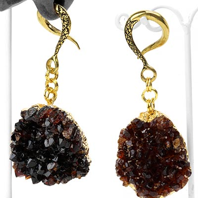 Brass Dangle Weights with Citrine Druzy