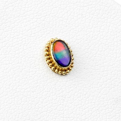 14k Gold Oval Threadless End with Ammolite