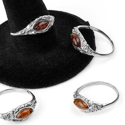 Sterling Silver Textured Ring with Marquise Amber