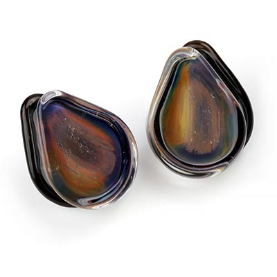 Glass Brushstroke Teardrop Plugs