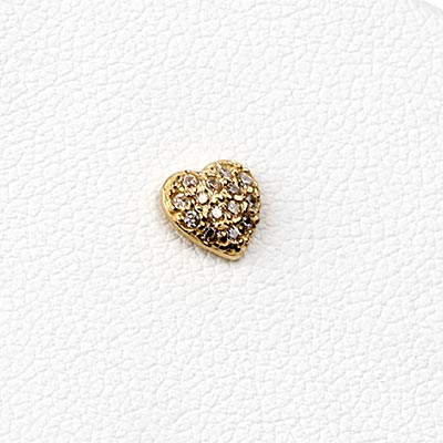 14k Gold Gemmed Heart Threadless End
