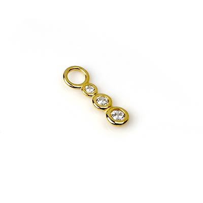 14K Gold Triple Gem Linear Dangle Charm